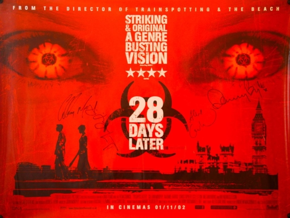 28 Days Later cast signed Quad